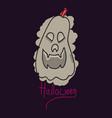halloween pumpkin with face on dark background vector image vector image