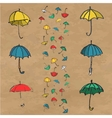 Hand drawn set of colorful umbrellas vector image vector image