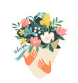 hands holding bouquet flowers with a note for vector image