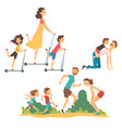 happy families walking in park set father vector image vector image