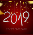 happy new year 2019 gold holiday party card vector image vector image