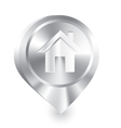 Home icon metal drop pin vector image
