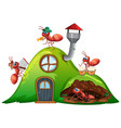 house with many ants playing music vector image vector image