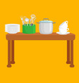 kitchen accessories set isolated cooking domestic vector image vector image