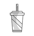 line delicious refreshment in the plastic cup to vector image vector image
