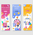 lottery vertical web banner template set vector image