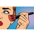 Make-up woman brush causes the tone vector image