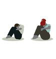 man and woman silhouette in Sitting On Ground pose vector image vector image