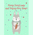 merry christmas greeting card with xmas rabbit vector image