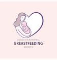 national breastfeeding month poster design vector image vector image