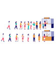 people waiting in line at ticket box flat vector image