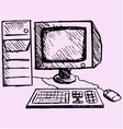retro desktop computer monitor vector image