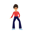 retro disco male dancer with curly hair in 70s vector image