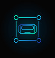 robot head in square blue icon or logo vector image vector image