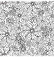 seamless floral pattern in black and white colors vector image vector image