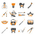 set dental services two color icons vector image vector image