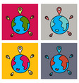 set of globe earth with color pointer marks vector image