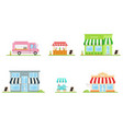 set store shop street store cart and truck vector image vector image