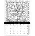 snowflake coloring book page calendar november vector image vector image