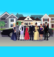 teen in prom dress standing in front a long vector image