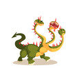 three headed dragon ancient mythical creature vector image vector image