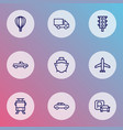 transportation icons line style set with cabriolet vector image vector image