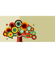Vintage colorful tree vector image
