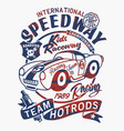 vintage speedway kids roadster racing team vector image vector image