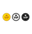 vip icon set golden color black and white outline vector image