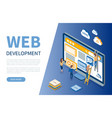 web development monitor and workers developers vector image