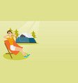 woman sitting in a folding chair in the camping vector image vector image