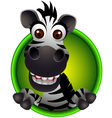 cute zebra head cartoon vector image