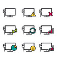 nine line icons - computer connection vector image