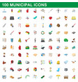 100 municipal icons set cartoon style