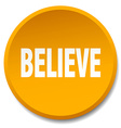 believe orange round flat isolated push button vector image vector image