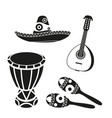 black and white mexican music set vector image vector image