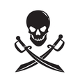 black skull with swords isolated on white vector image vector image