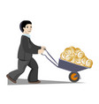 businessman carries a lot of money in a vector image