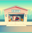 cartoon mechanic workshop with car garage vector image vector image