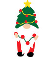 christmas gnome in green hat with garland funny vector image