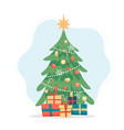 christmas tree cute in flat vector image vector image