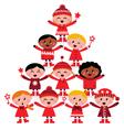 christmas tree of kids vector image vector image