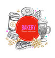 coffee and bakery label 2 vector image vector image