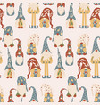 colorful gnomes in a seamless pattern design vector image vector image