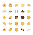 cookies flat icons set vector image