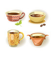 cups mugs and bowls different shape drink or food vector image vector image