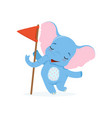 cute baby elephant standing with red flag funny vector image vector image