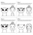 cute facial treatment monochrome instruction girl vector image vector image