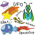drawn colored alien vector image vector image