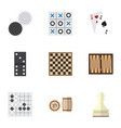 flat icon entertainment set of chess table pawn vector image vector image